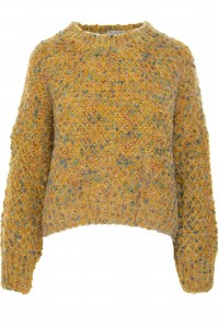 A chunky knit jumper,Aimelia Br2427,in Mustard,with a colourful fleck.