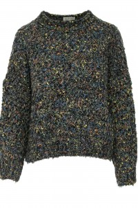 A chunky knit jumper,Aimelia Br2428,in Navy,with a colourful fleck.