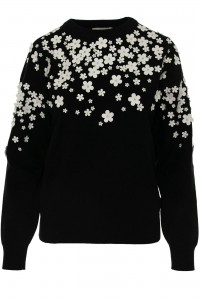 A fine knit jumper,Aimelia Br2429,in Black,with a contrasting White trim.