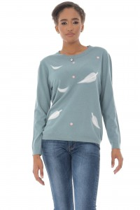 A fine knitted jumper, Aimelia Br2436 in Mint Green ,with a leaf design.