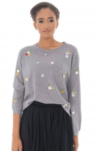 A fine knitted jumper,Aimelia Br2438, in Grey,with delicate embroidered detail .
