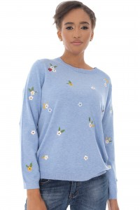 A fine knitted jumper,Aimelia Br2440, in Light Blue,with delicate embroidered detail .
