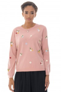 A fine knitted jumper,Aimelia Br2441, in Pale Pink ,with delicate embroidered detail .