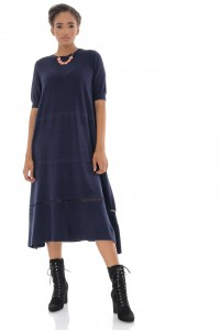 A-line Midi Dress,Aimelia Dr4326 in Navy with a crochet detail at the hemline.