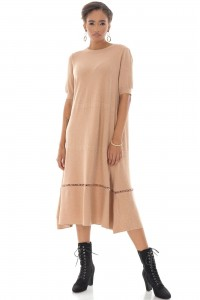 A-line Midi Dress,Aimelia Dr4327 in Camel with a crochet detail at the hemline.