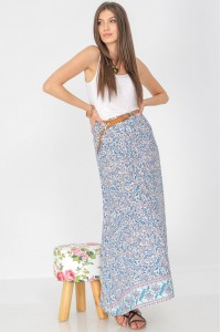 A paisley printed maxi skirt, Aimelia Fr497, in Blue and White, with a contrasting belt