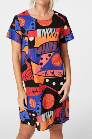 Abstract tunic Dress,Aimelia Dr4316,in a multicolour print.