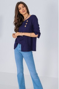 Asymmetric top,Aimelia Br2422, in Navy, with contrasting buttons.