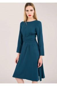 Navy dress with drawstring waist and elegant waistband, Aimelia - DR3919