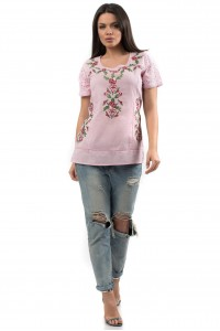 Vintage style cotton summer top in Pink - BR553-R - Aimleia