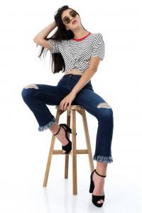 Striped crop t-shirt - BR1840 - Aimelia