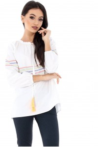Cotton top, Aimelia Br1350, in White, with long sleeves.