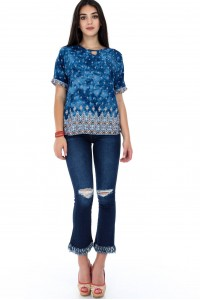 Bluza albastra, ROH, cu slit la gat - BR1838