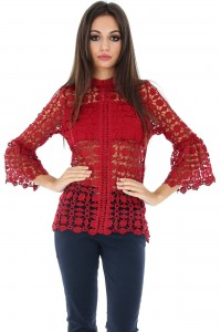 Crochet lace top, Aimelia Br1553, in Wine, with funnel sleeves.