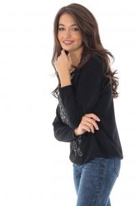 Bluza neagra Bambi, cu aplicatii stralucitoare, ROH - BR2205
