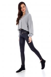Casual cropped grey sweatshirt by Aimelia - BR1728