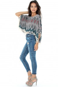 Loose fitting top, Aimelia Br1446,in an aztec print