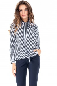 Striped cotton pussy bow shirt by Closet London -  BR1951 - Aimelia