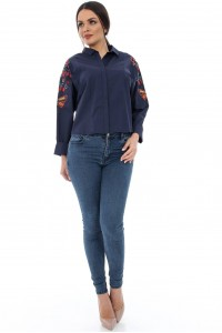 Navy cotton shirt with embroidered sleeves - AIMELIA - BR1266