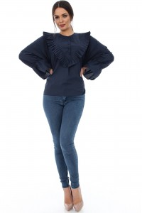 Cotton navy shirt with frill details - Aimelia - BR1261