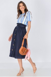 Casual midi skirt, Aimelia Fr494, in Navy, with contrasting buttons.