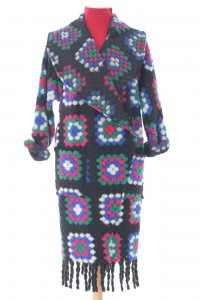 Colourful oversized coatigan, Aimelia Jr549,in Black, with two pockets and fringing detail.