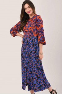 BLUE HEART PRINT PUFF SLEEVE MIDI DRESS