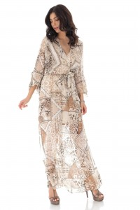 A printed Chiffon wrapover maxi dress. - Beige - Aimelia - DR4179