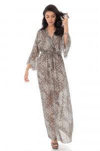A printed Chiffon wrapover maxi dress - Brown - Aimelia - DR4180