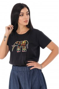 Cotton T-shirt with elephant print - Black- Aimelia - BR2327