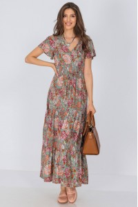 Floral maxi dress, Aimelia Dr4290, in Khaki, with angel sleeves.