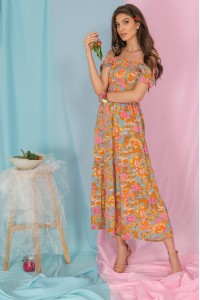 Floral maxi dress, Aimelia Dr4299, in Peach, with a tiered skirt.