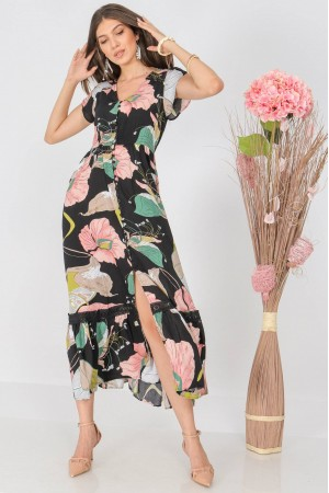 Floral maxi dress, Aimelia Dr4312, in Black/ Multicolour,with a lace trim
