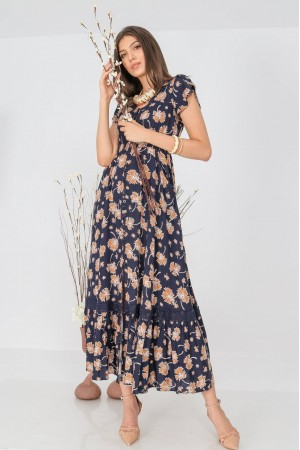 Floral maxi dress, Aimelia Dr4313, in Navy/ Orange, with a lace trim
