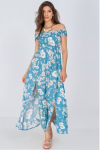 Floral Off the shoulders maxi dress, Aimelia Dr4287, in Blue and Cream.