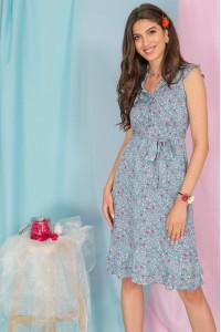 Floral Tea Dress, Aimelia Dr4298, in Powder Blue, with a frilled neckline.