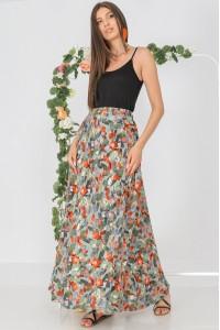 Full circle maxi skirt , Aimelia FR498,in Khaki,with an elasticated waist and pockets