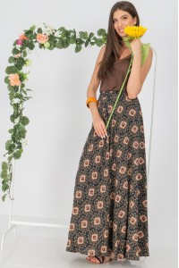 Full circle maxi skirt , Aimelia Fr499,in Navy/Orange ,with an elasticated waist and pockets