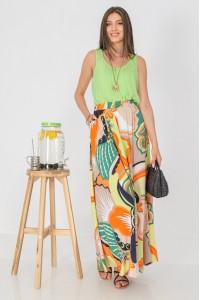 Full circle maxi skirt , Aimelia Fr501 in a Multicoloured print,with an elasticated waist and pockets