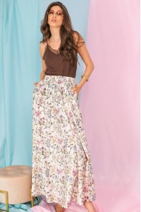 Full circle maxi skirt, Aimelia Fr495, in Cream Floral, with pockets.