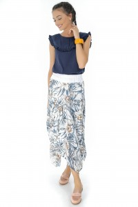 Cream maxi floral skirt Aimelia - FR385