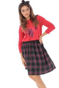 Tartan check pleated skirt, Aimelia - FR460