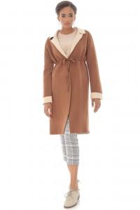 Heavy knit long cardigan,Aimelia Jr546 in Camel,with a drawstring waist.