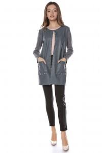 Grey long jacket Aimelia - JR437