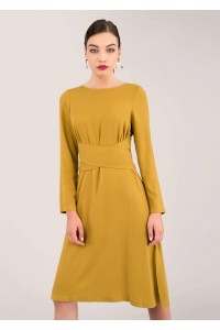 CLOSET MUSTARD CROSS TIE DETAIL A-LINE DRESS - DR3918 - AIMELIA