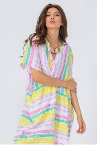 Oversized linen tunic, Dr4294, in White, in a  colourful aztec print.