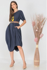 Oversized midi dress, Aimelia Dr4310, in Navy, with a ruched hem.