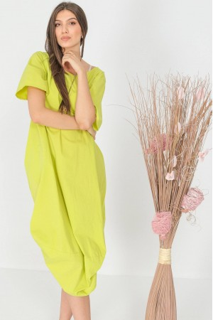 Oversized midi dress, Aimelia Dr4311, in Lime, with a ruched hem.
