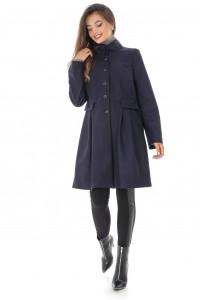 Palton bleumarin, cu guler inalt, ROH - JR470