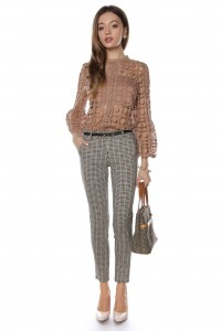 Classic straight leg trouser in a multi-check fabric - Aimelia - TR302